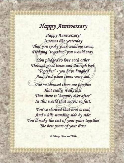 Anniversary card Poems Poems