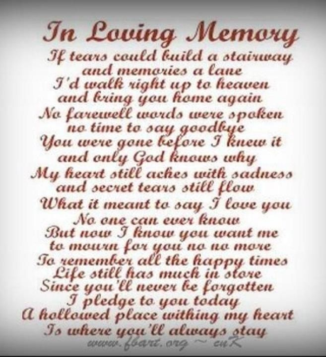 In Loving Memory Sayings And Quotes Entrancing Rip Poems