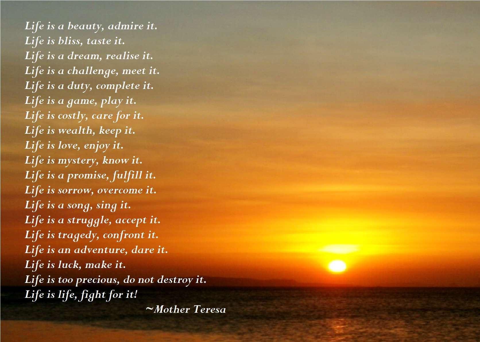 Life Quotes Mother Teresa Mother Teresa Poems