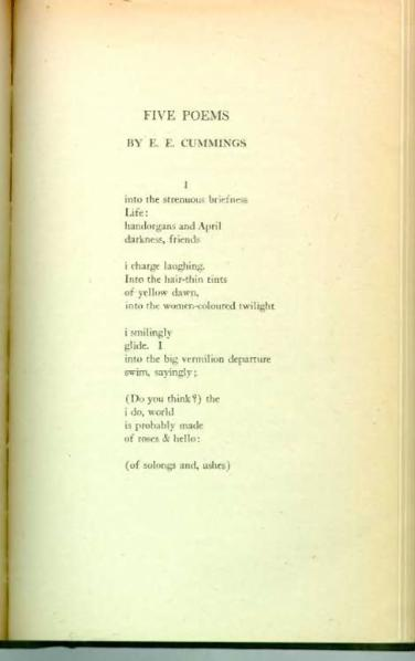 ee cummings essay on poetry Comparison essay ee cummings is a twentieth century poet  that make people think about everything by just reading a poem one poet in particular is ee cummings.
