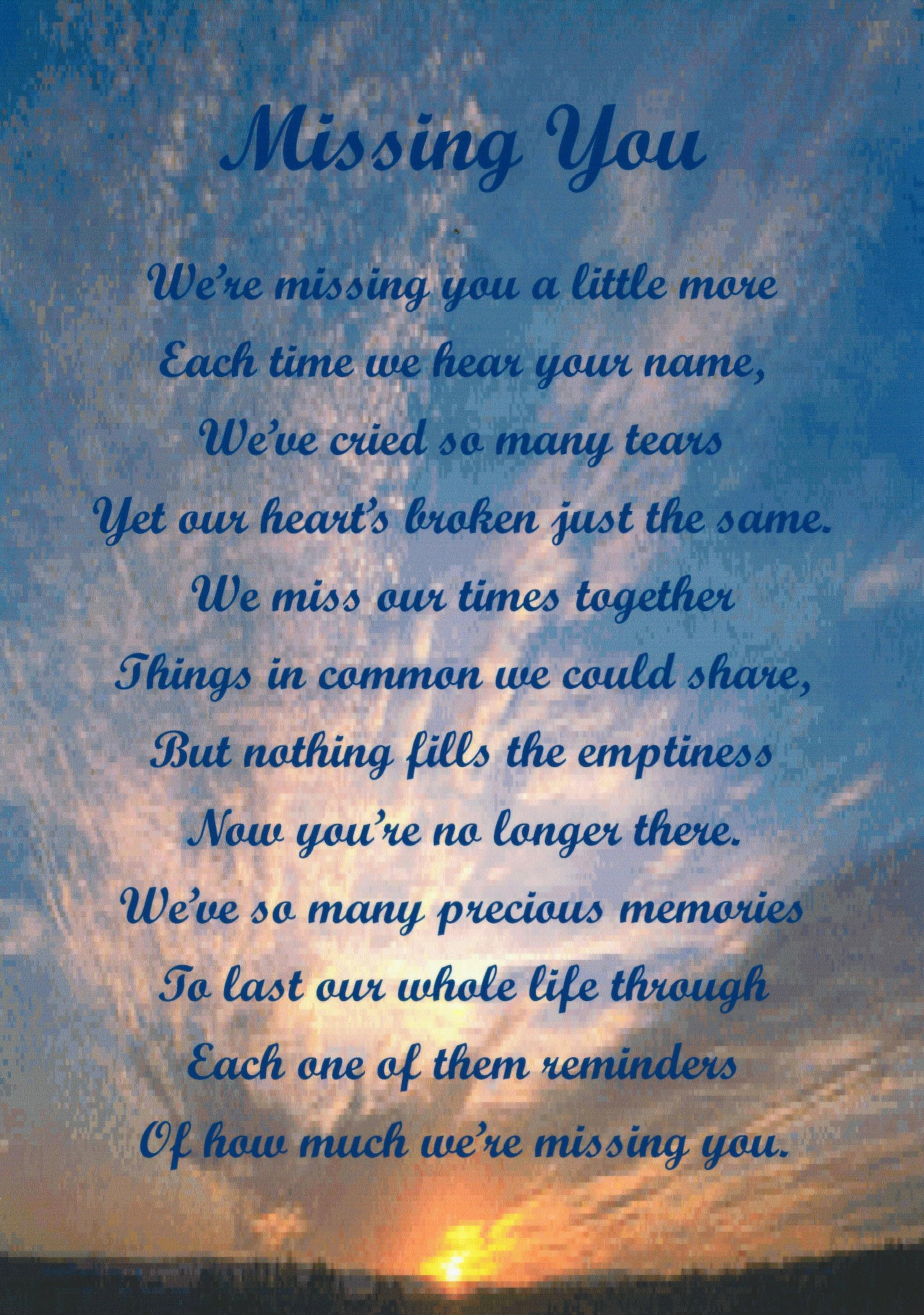 In Memory Of Lost Loved Ones Quotes Birthday Memorial Poems Poems