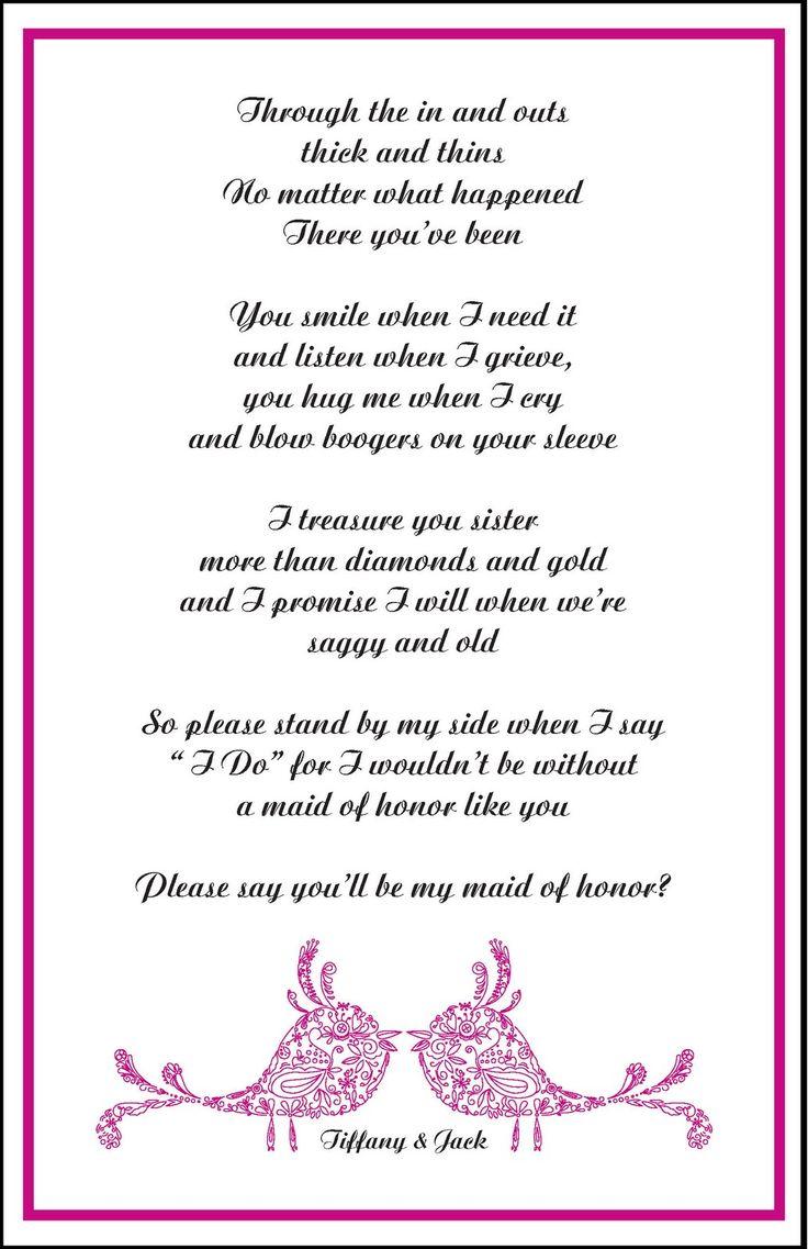 Poem From Bridesmaid To Bride | Wedding Ideas