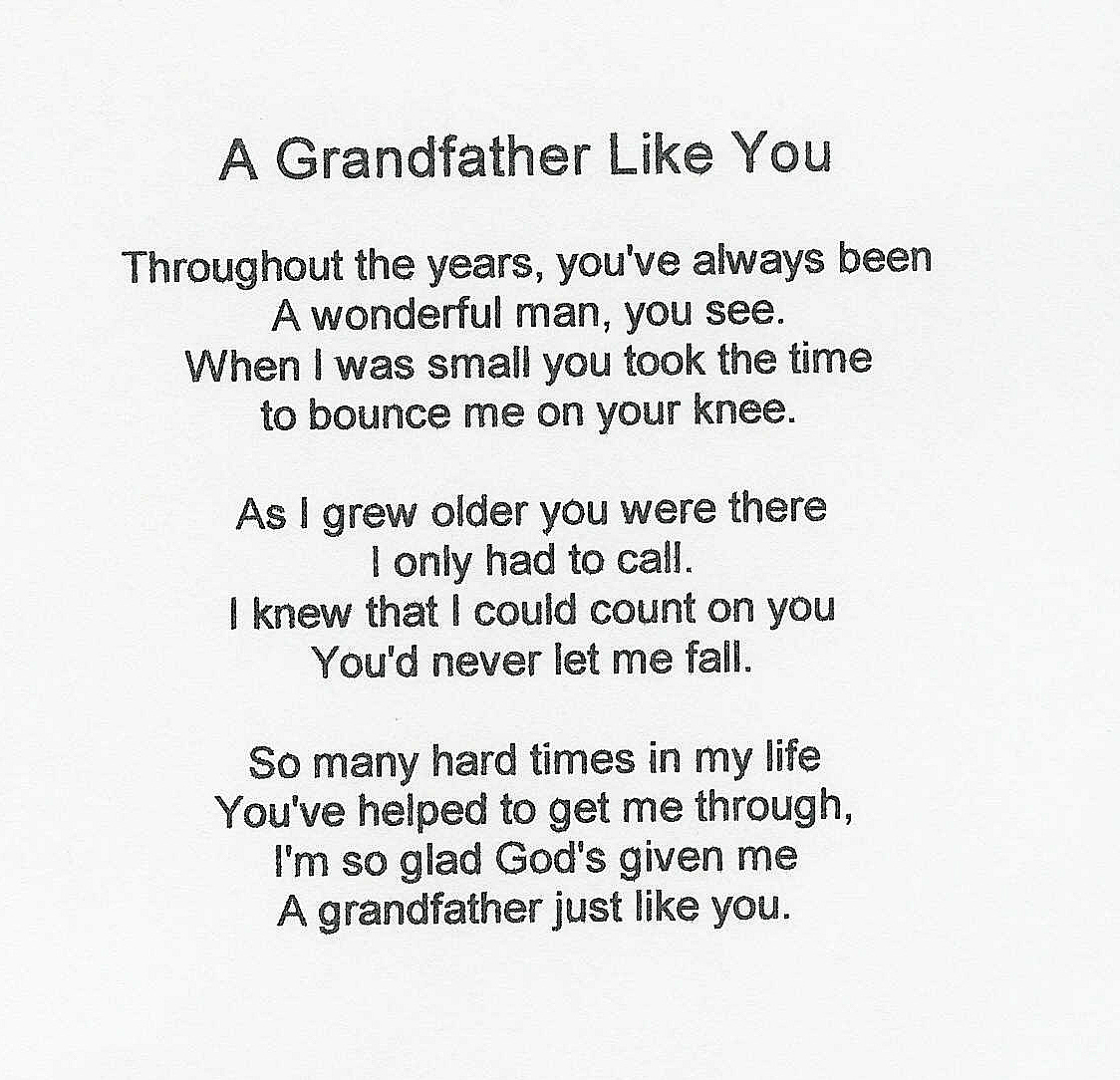 I Love My Grandpa Quotes Grandpa Poems