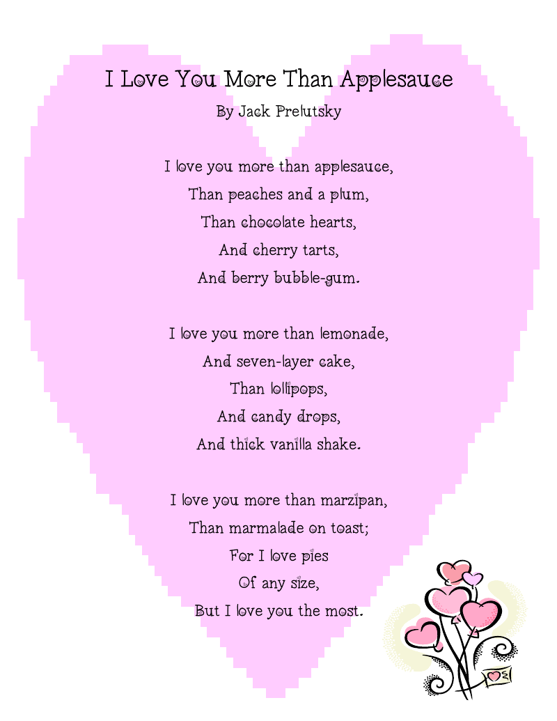 "adorable valentines day kids poems and songs:""i love you more than, Ideas"