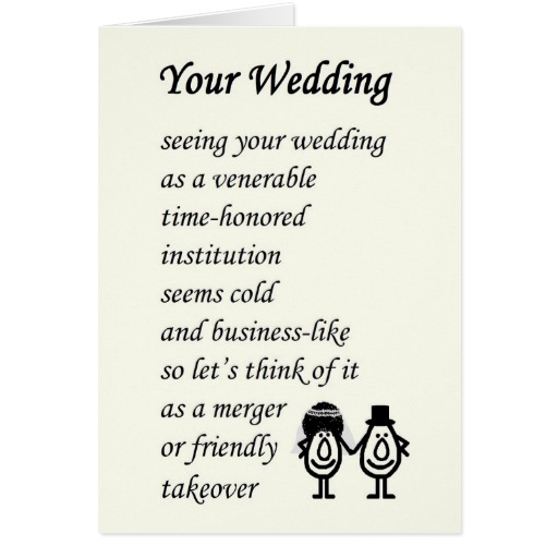 Wedding Poems For Bride And Groom Funny