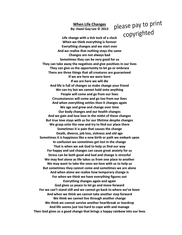 poem about life changing experience A persian poet, islamic scholar, theologian, and spiritual teacher, rumi is a best-selling poet in the united states and gave us a unique perspective about the universe and life that we can all take something from.