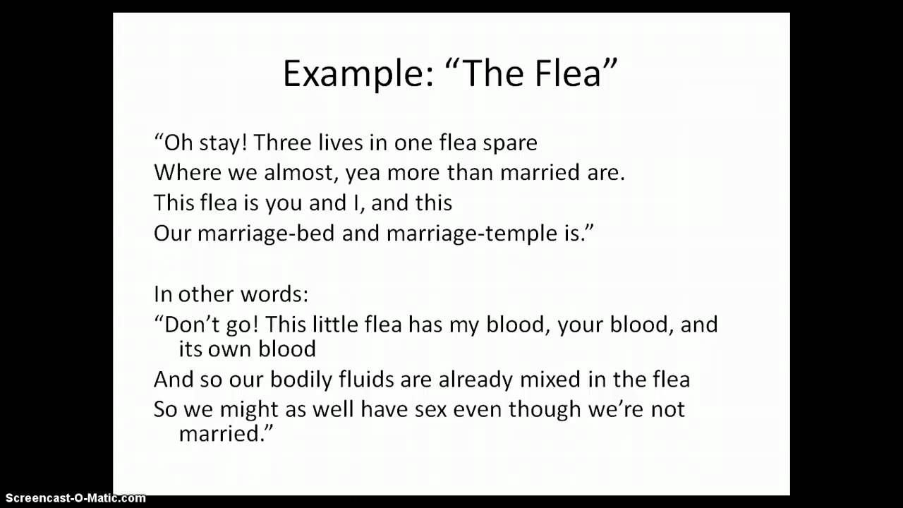 metaphysical conceit in the flea And that the blood inside the flea is like a pregnancy  unpacking a metaphysical conceit, again  lesson 4: 'mark but this flea' unpacking a whole poem.