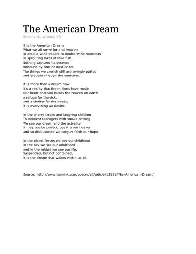 achieving the american dream essay Get an answer for 'how can i write an essay on the america dream in literature one could achieve the american dream or just type wwwenotes.