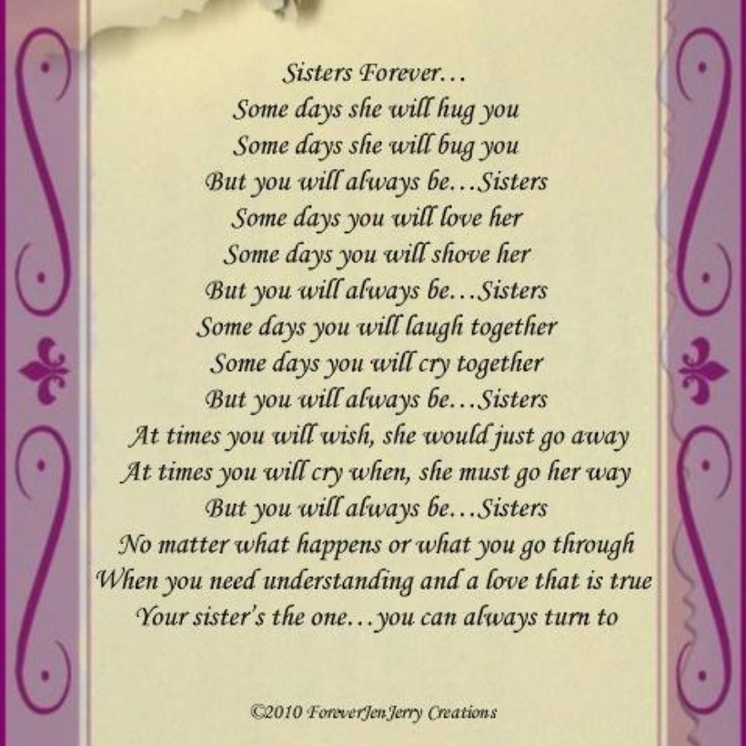 Love My Big Sister Quotes Brilliant I Love My Sister Poems