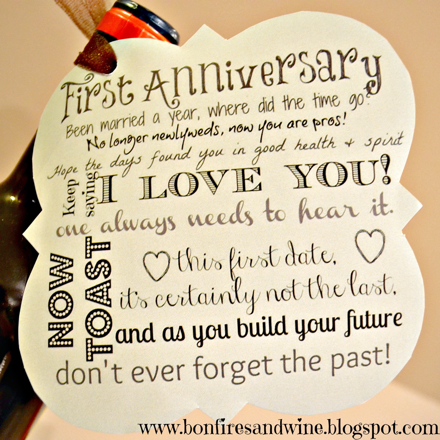 Love poem One Year Anniversary Letter