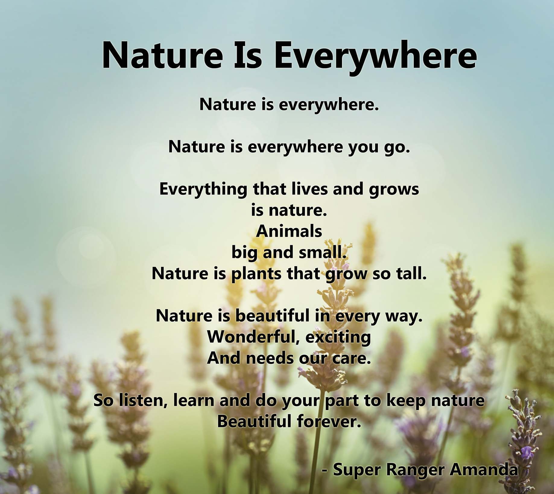 nature in poem In honor of #nationalpoetrymonth, some of our favorite submissions from the 2015 reader's digest poetry contest touch on the many wonders of the natural world.