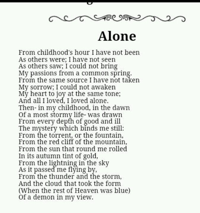 poetry analysis alone by edgar allan poe Complete collection of poems by edgar allan poe: the raven, alone, annabel lee, the bells, eldorado, ulalume and more.