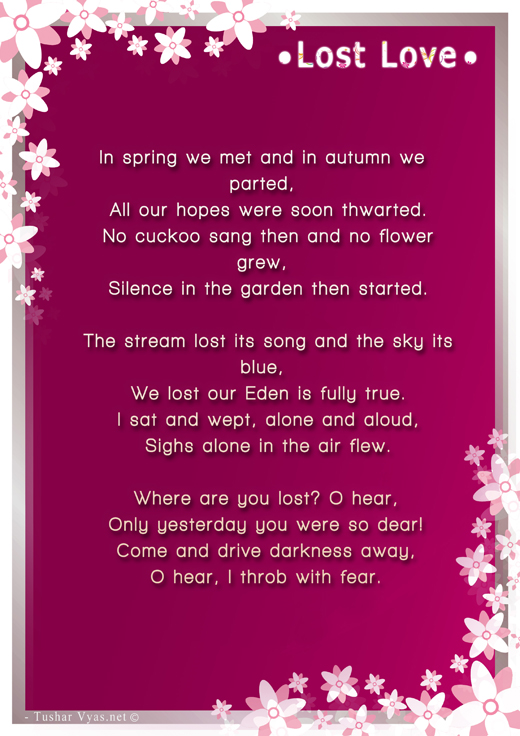 Losing love Poems Poems