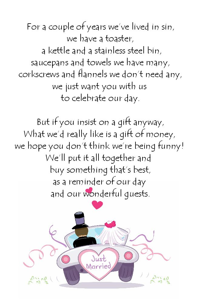 10 best Ideas for no gifts images on Pinterest | Wedding gift poem ...