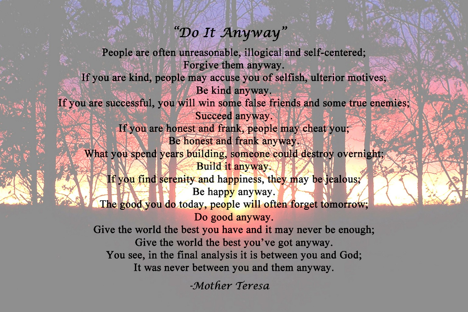 Mother Teresa Quotes Love Anyway Mother Teresa Poems