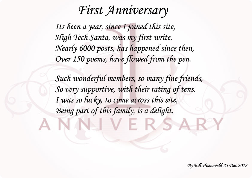 One Year Anniversary Poems