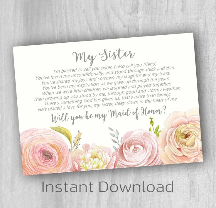 Sister Maid Of Honor Poem Wedding Ideas