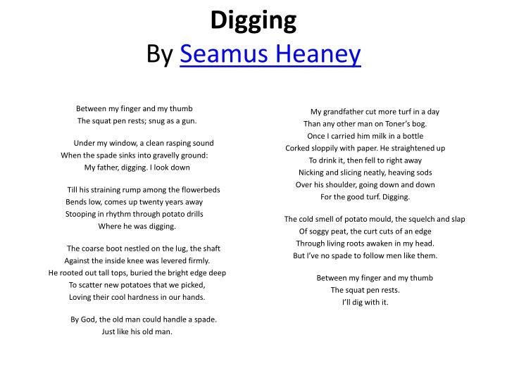 "an analysis of the poembetween my finger and my thumb by seamus heaney Seamus heaney's ""digging"" is  heaney's poem is more than a rudimentary description of the saying ""between my finger and my thumb / the squat pen."