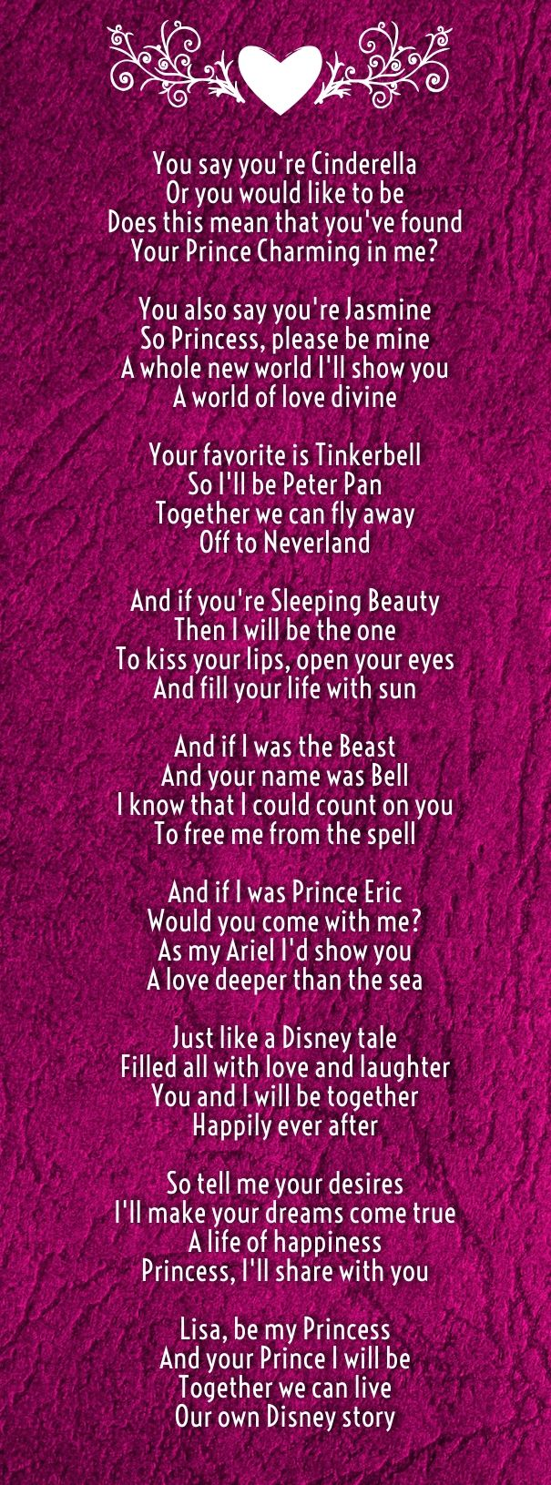 Disney Wedding Poems Ideas