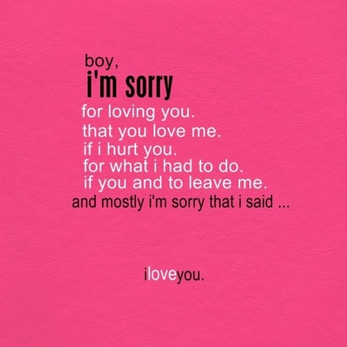 Apology love Poems