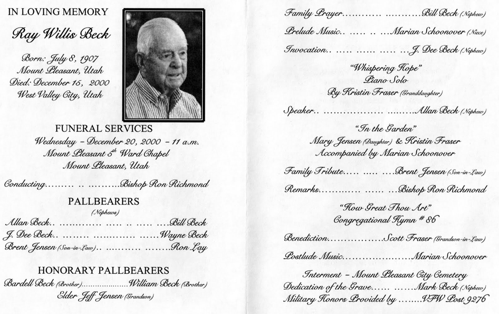 Great Free Funeral Programs Templates Photos Resume Ideas - Free printable funeral program template