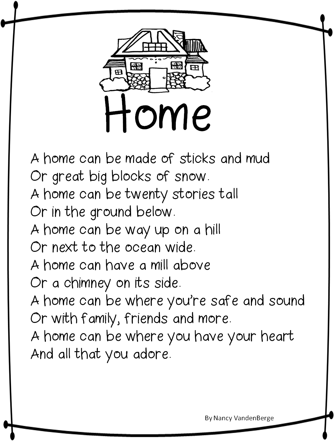 house poems poems first grade wow home sweet home human characteristics