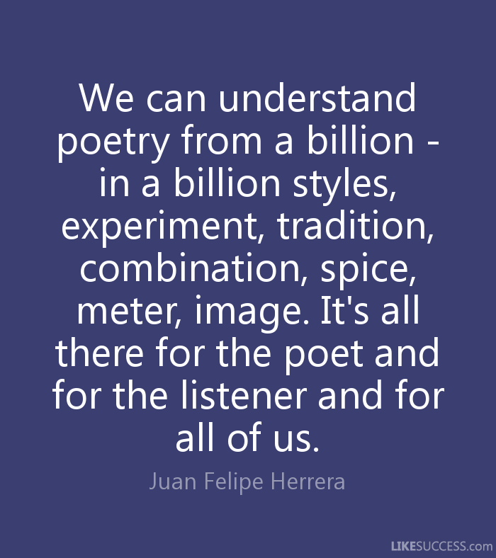 "a personal reaction to a line from and if the man with the choke hold a poem by juan felipe herrera The other great protest poem in this ""ayotzinapa"" and ""and if the man with the choke-hold"" are powerful works juan felipe herrera when he came to."