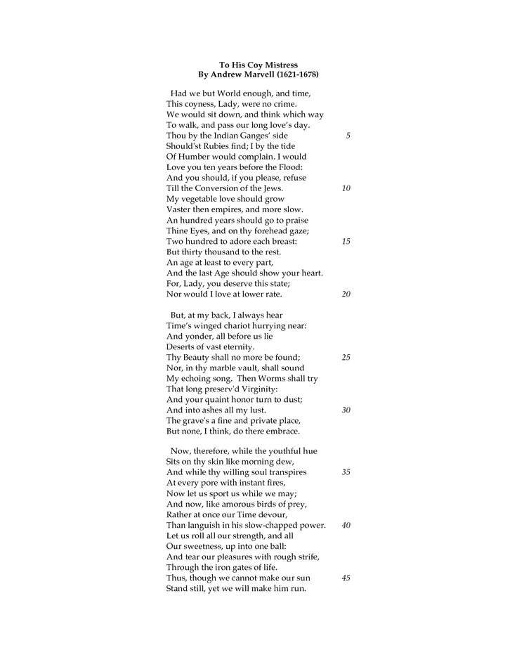 q marvell s poem his coy mistress poem seduction discuss e On sexual seduction they reject the idea that marvell's poem to his coy mistress by andrew marvell the poem: lines 1-20 discuss what would.