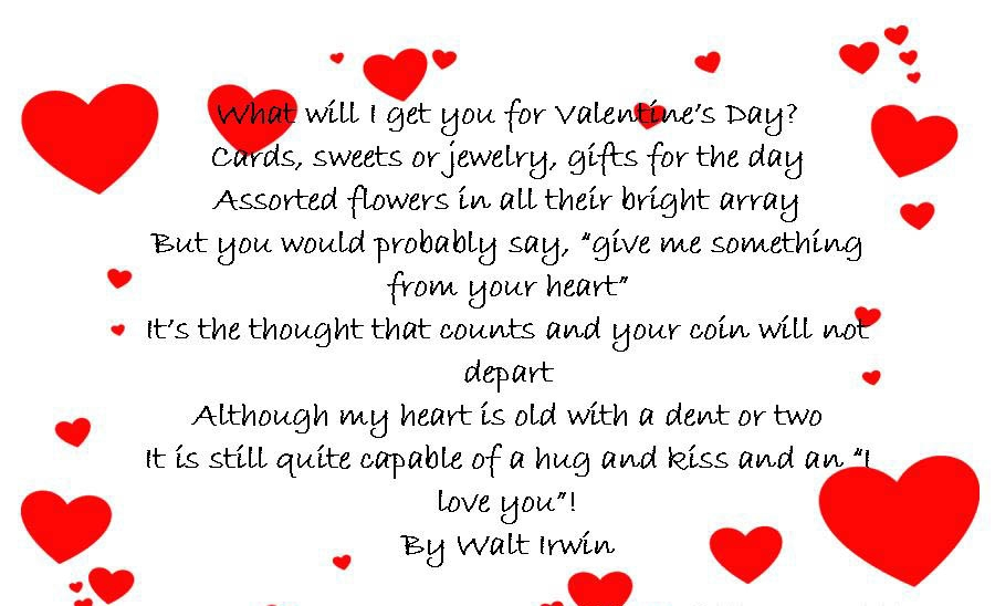valentines cards poems poems