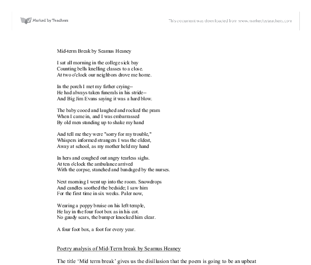 heaney poems poems seamanxoxw analysis of mid term break by seamus heaney