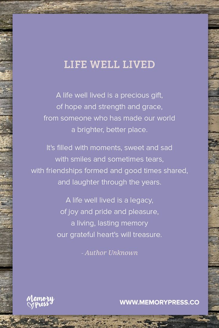 A Life Well Lived Quotes Memorial Service Poems