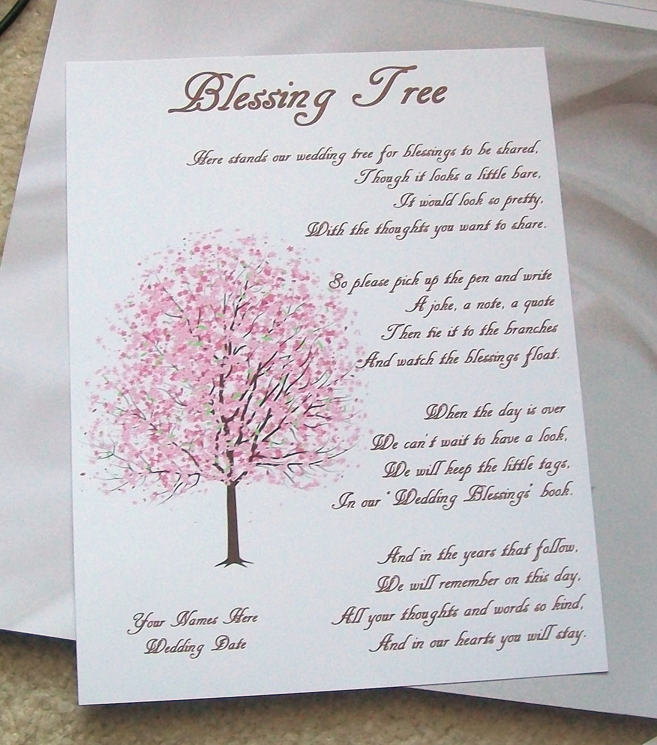 Wishing Tree Tags Instructions Sign Cherry Blossoms