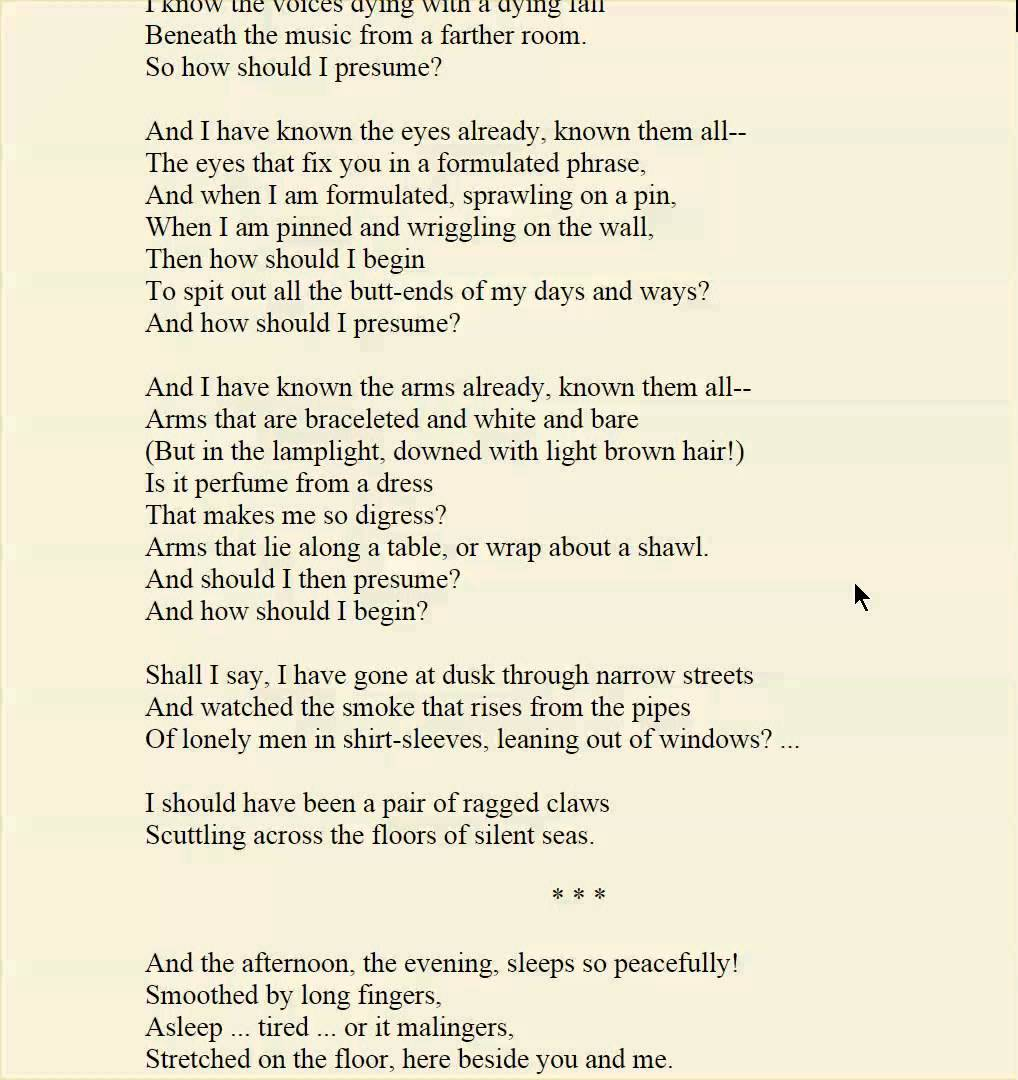 the love song of j alfred prufrock 2 essay The love song of j alfred prufrock by ts eliot the love song of j alfred prufrock learning guide by phd students from stanford, harvard, berkeley.