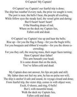 """o captain my captain essay questions """"o captain my captain"""" critical essay the poem """"o captain my captain"""" written by walt whitman is a heart wrenching portrayal of a sailors loss at sea as he trembles in the sight of his dear fallen captain."""