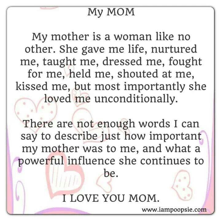 I Love My Mom Poems