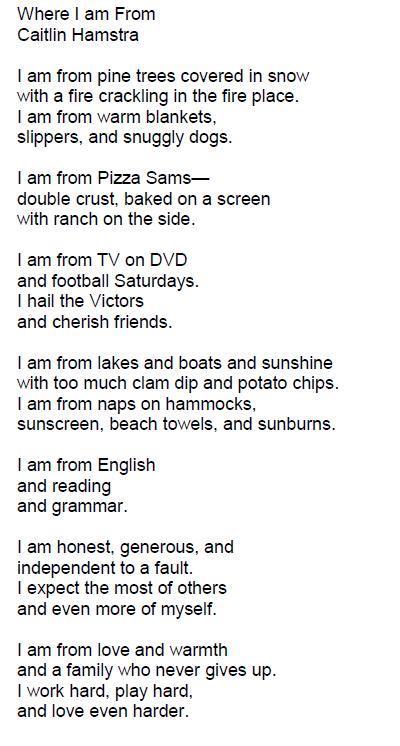 I Am From Poems