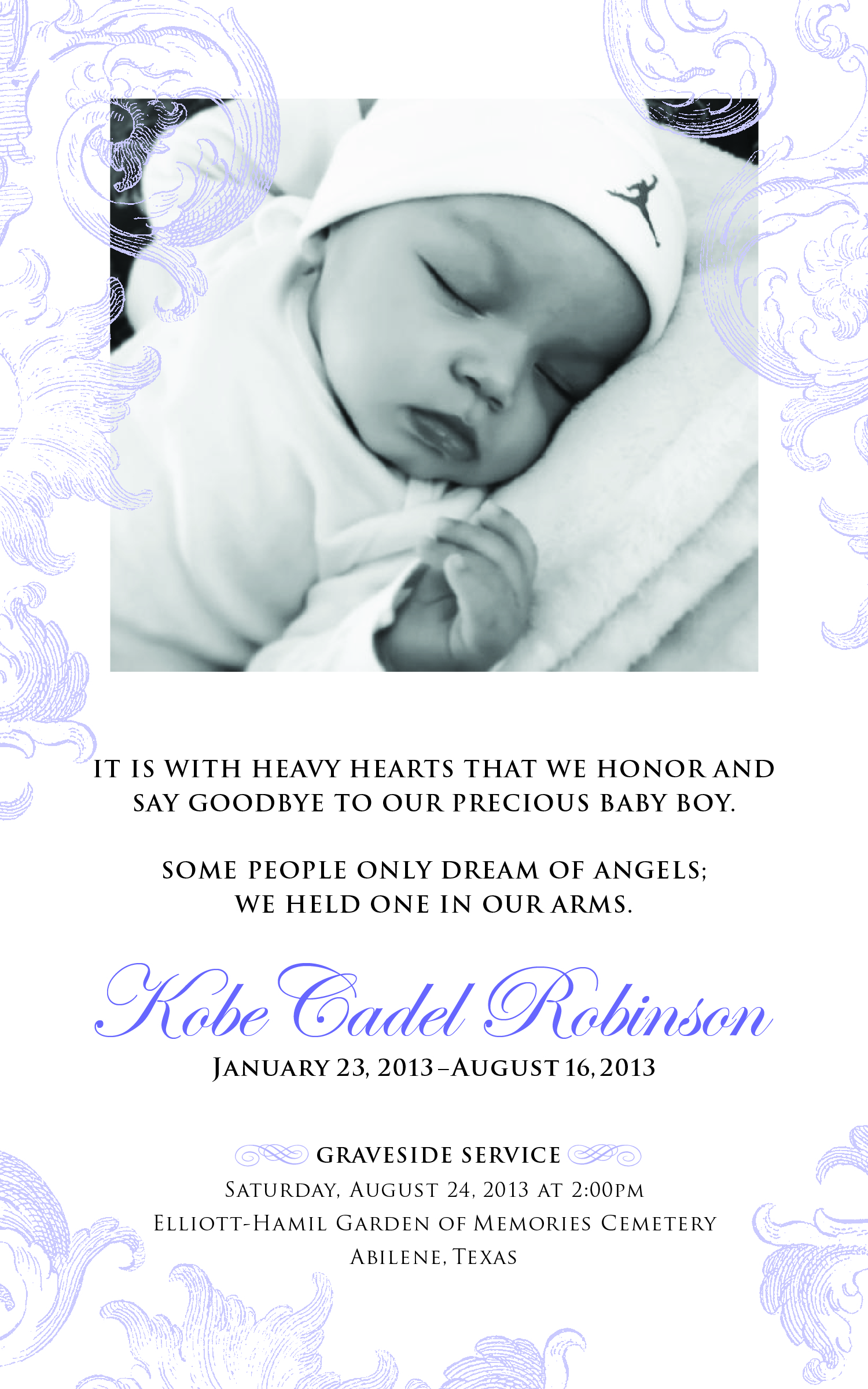 baby obituary poems