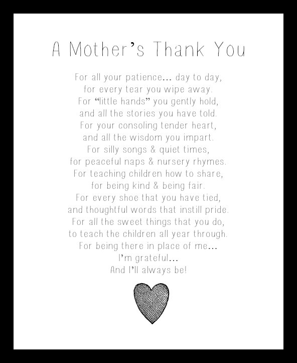 A Mothers Thank You Poem To Daycare Provider Printable ...