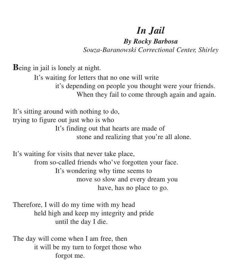 Boyfriend in jail Poems