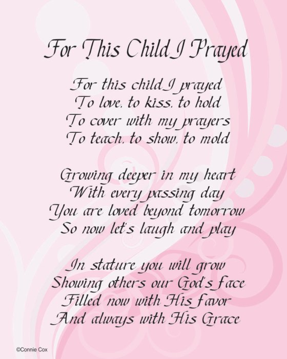 Girl Baby Shower Poems: Baby Shower Thank You Poems