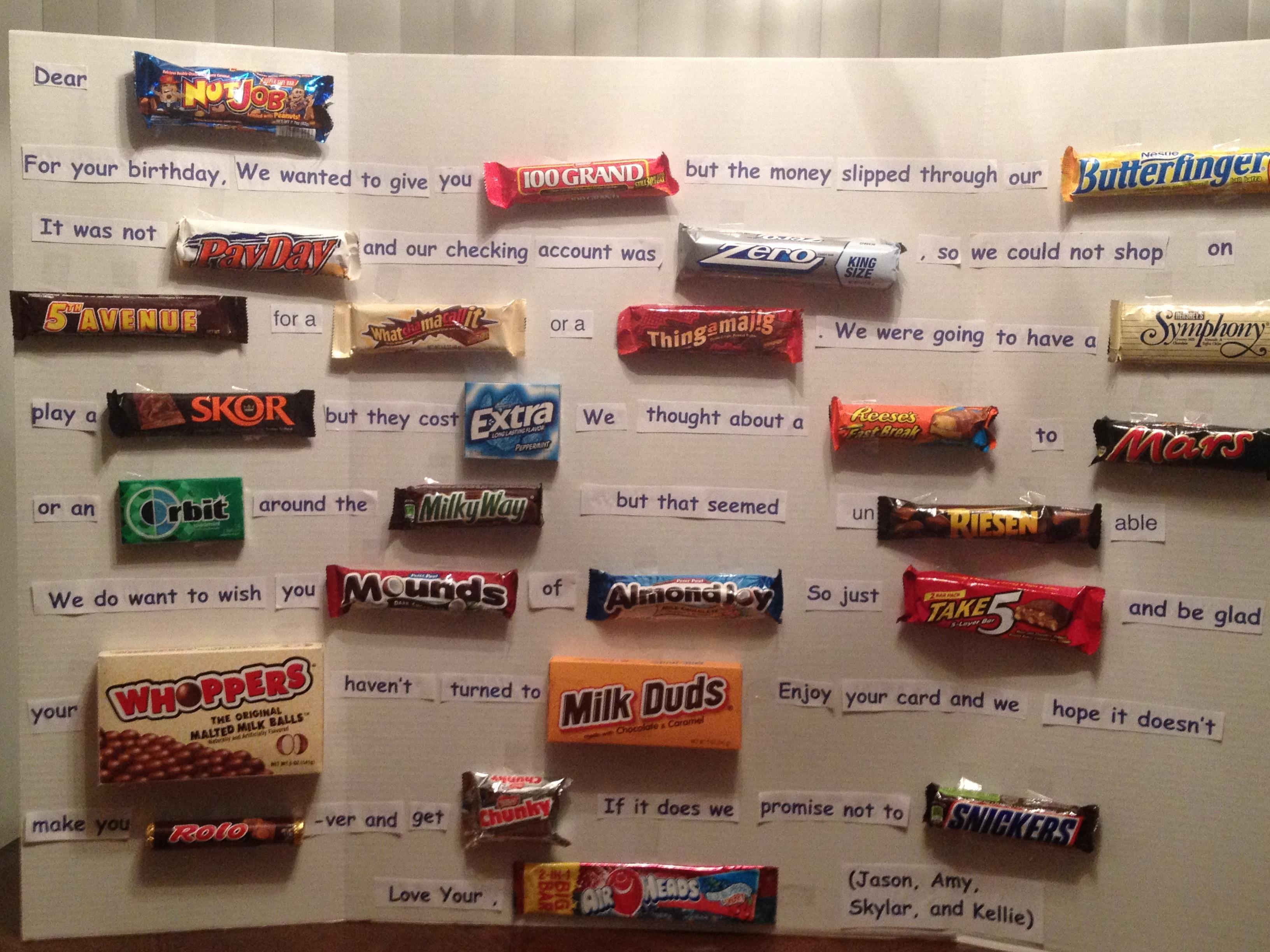 Поздравления с шоколадными батончиками