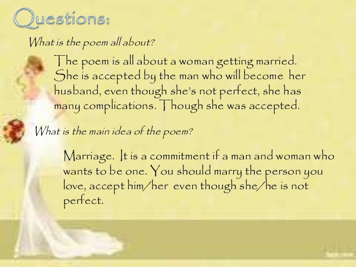 an analysis of the concept of marriage in the poem men by dorothy parkers Hymns of hate by dorothy parker women a hate song i hate women they get on my nerves there are the domestic ones they are the worst every moment is packed with happiness.