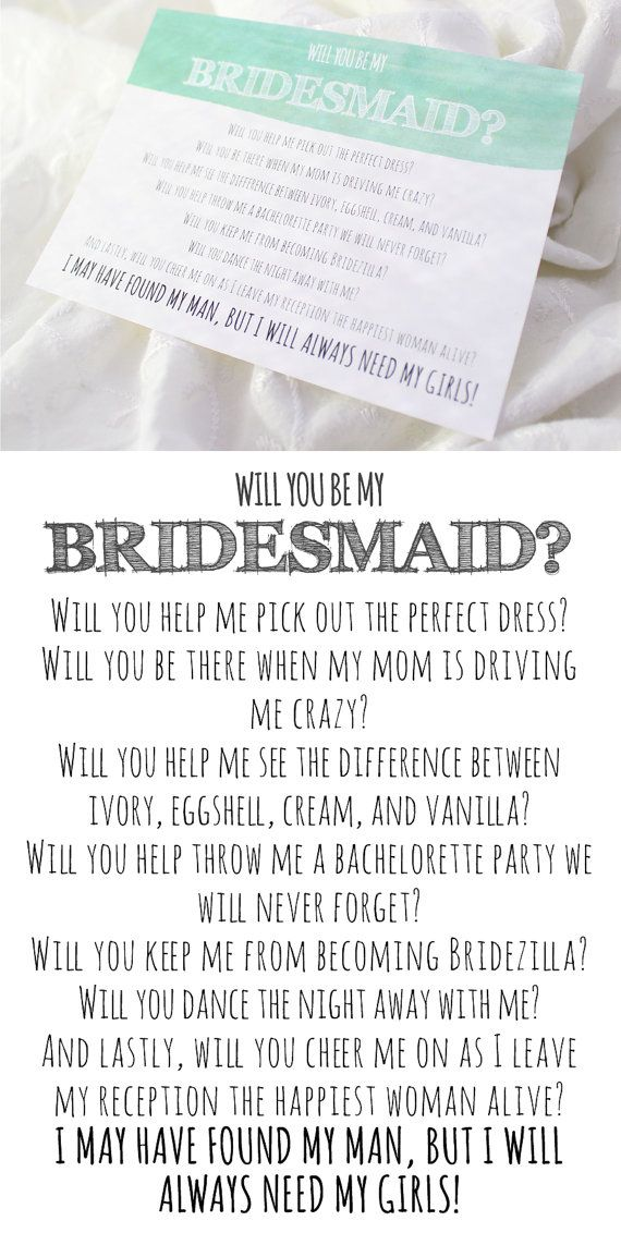 Bridesmaid Poems - Will you be my bridesmaid letter template