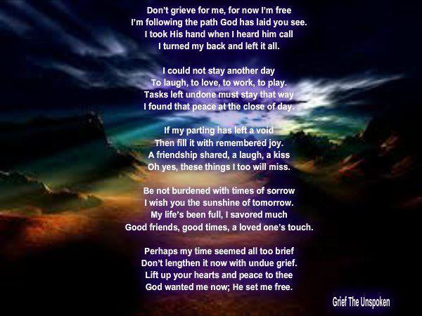 Inspirational grief Poems