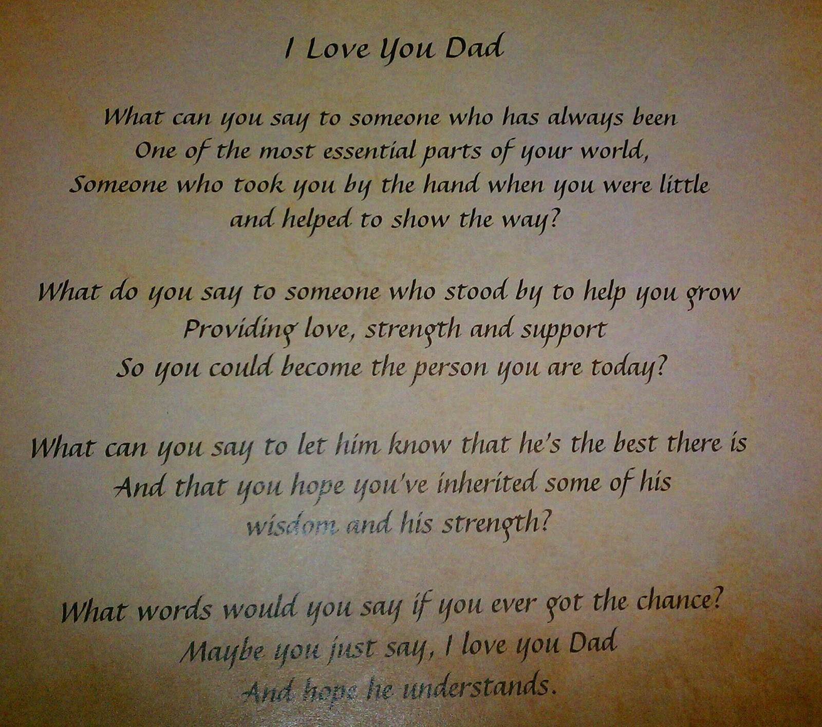Loss of a father poem