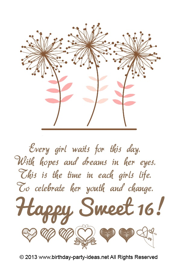 Sweet 16 Sayings For Invitations