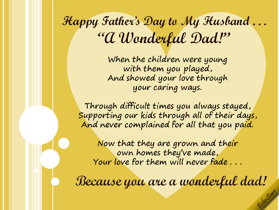 Happy fathers day to my husband poems happy fathers day to my husband husband ecards m4hsunfo