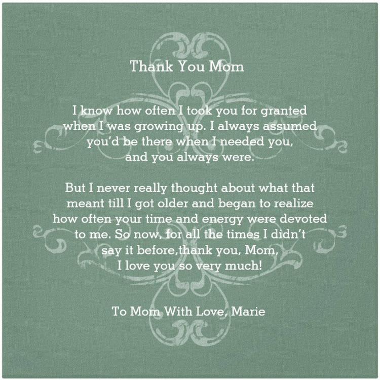 Thank you mom poems gifts for mom canvas s canvas love thecheapjerseys Image collections