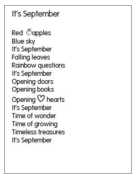 image relating to Thirty Days Hath September Poem Printable called September Poems