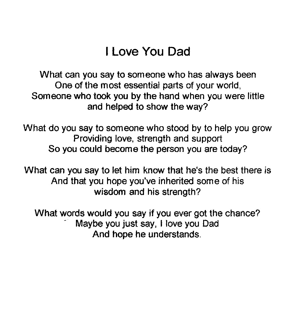 I Love You Dad Poems